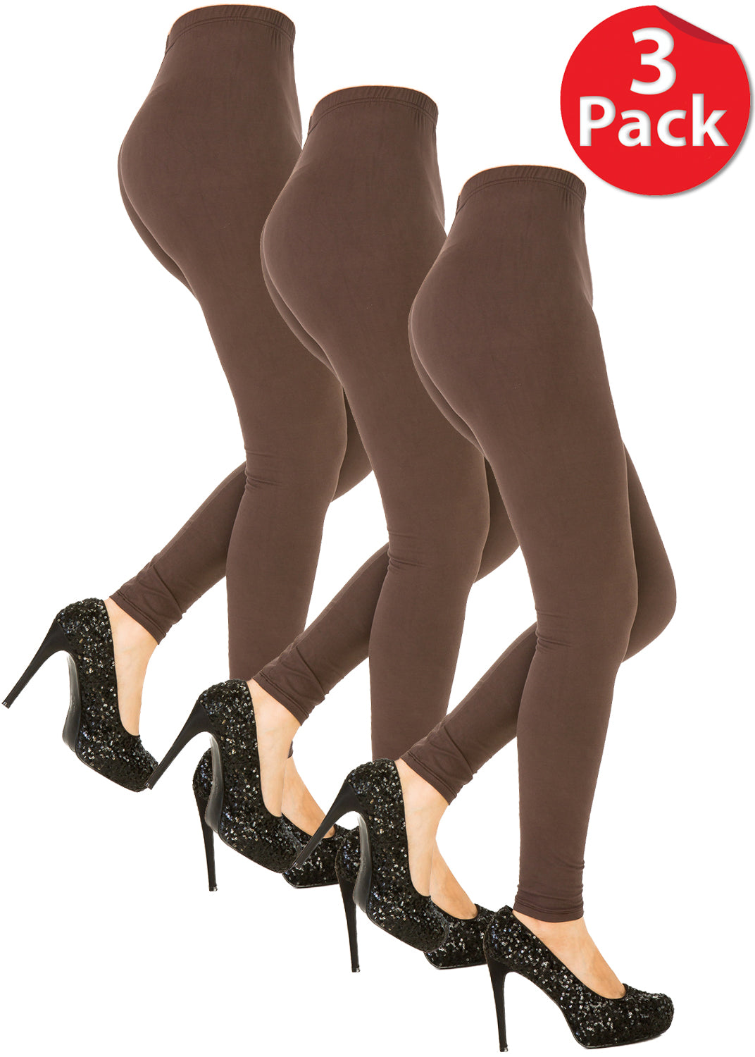 3 PCS Solid Brown Leggings Pack