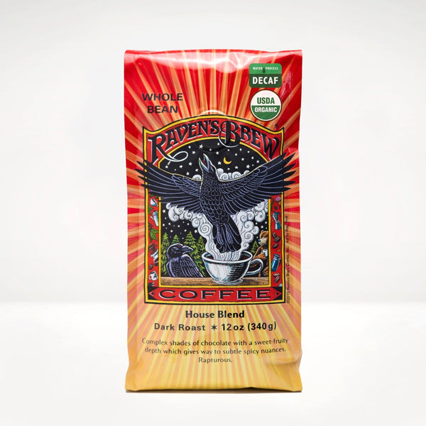 12oz Decaf Organic Raven's Brew® House Blend Coffee