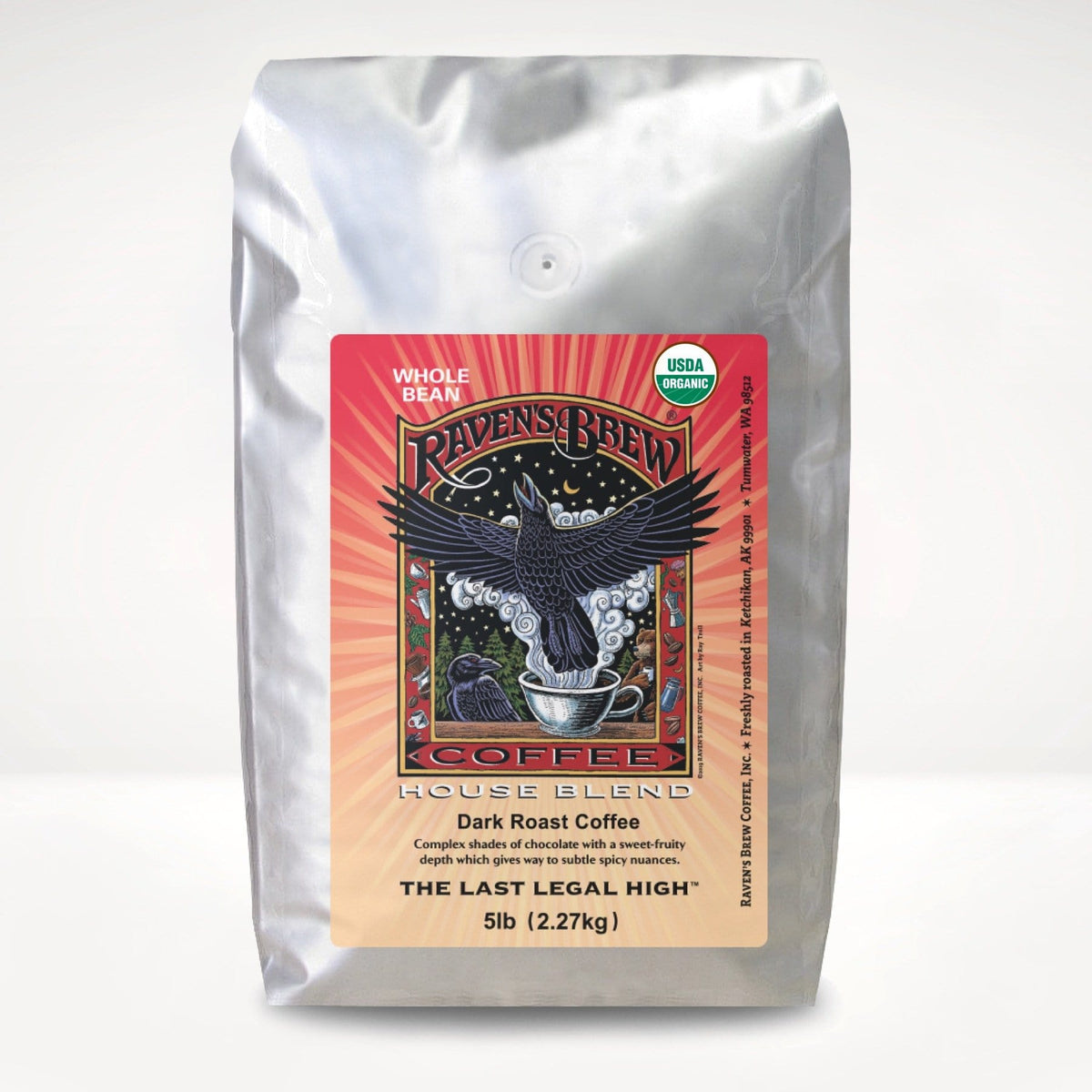 5lb Organic Raven's Brew® House Blend Coffee