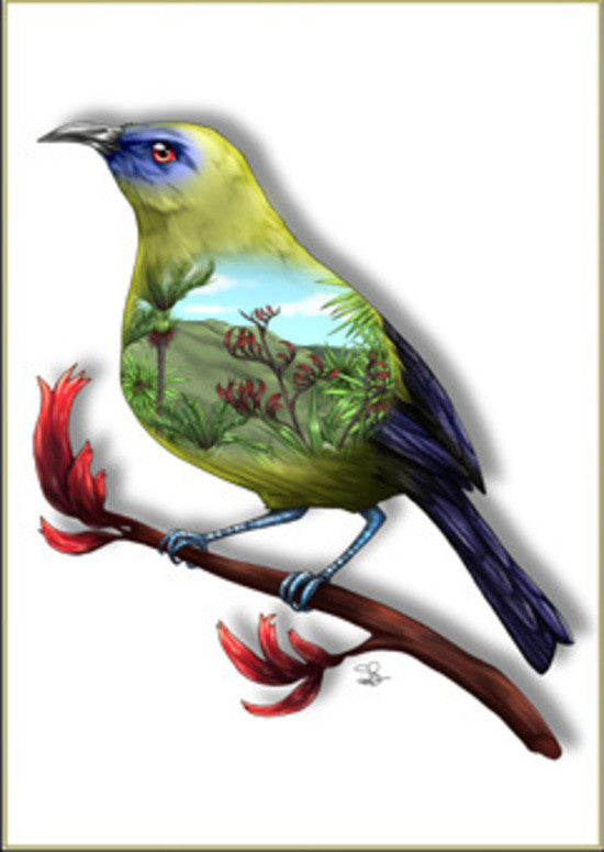 Native Bird Print - Bell Bird