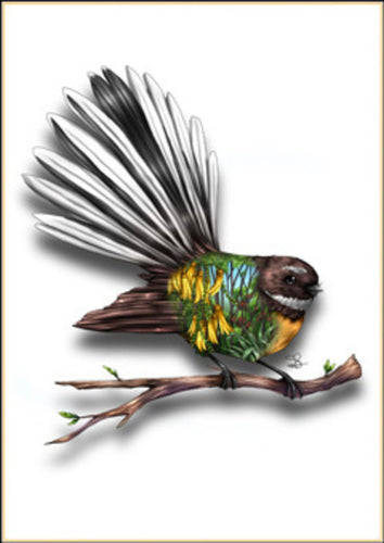 Native Bird Print - Fantail