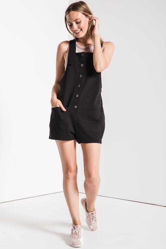 Button Front Overall Shorts-Z Supply-Jupe