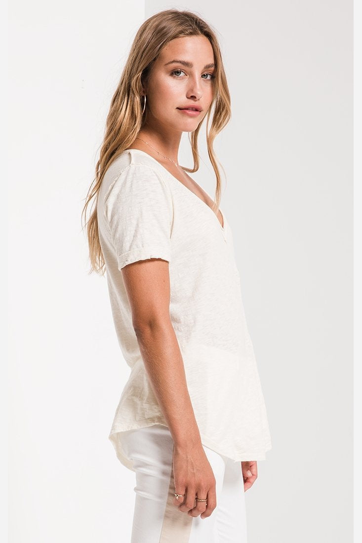 Caroline Cotton V-neck Tee-Z Supply-Jupe