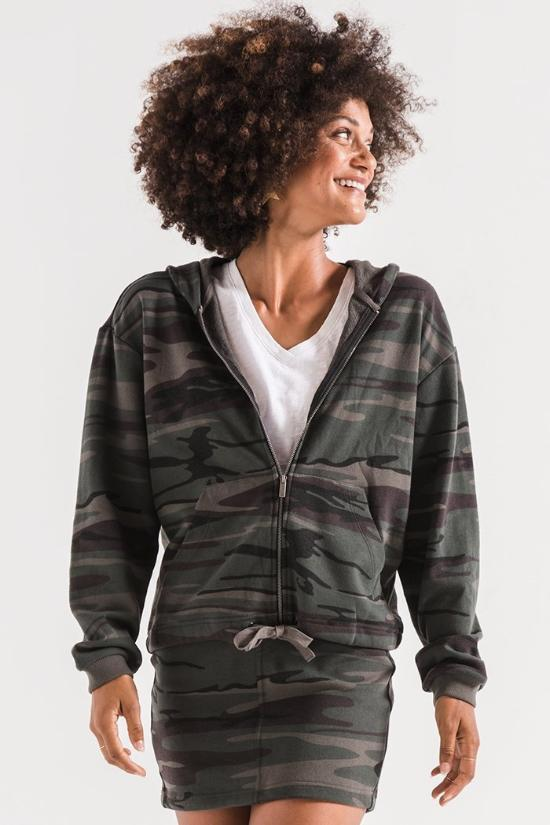 Kristy Camo Knit Hooded Jacket-Z Supply-Jupe