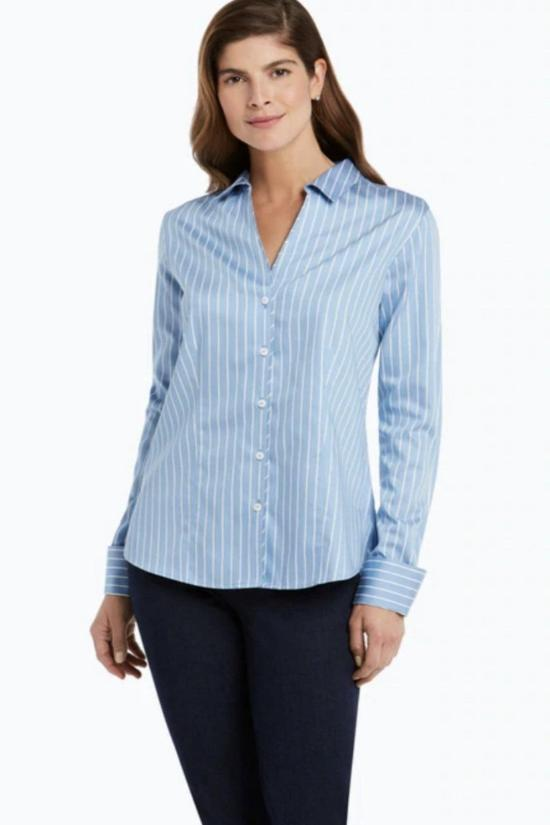 Lauren Non-Iron Stripe Sateen Shirt-Foxcroft-Jupe