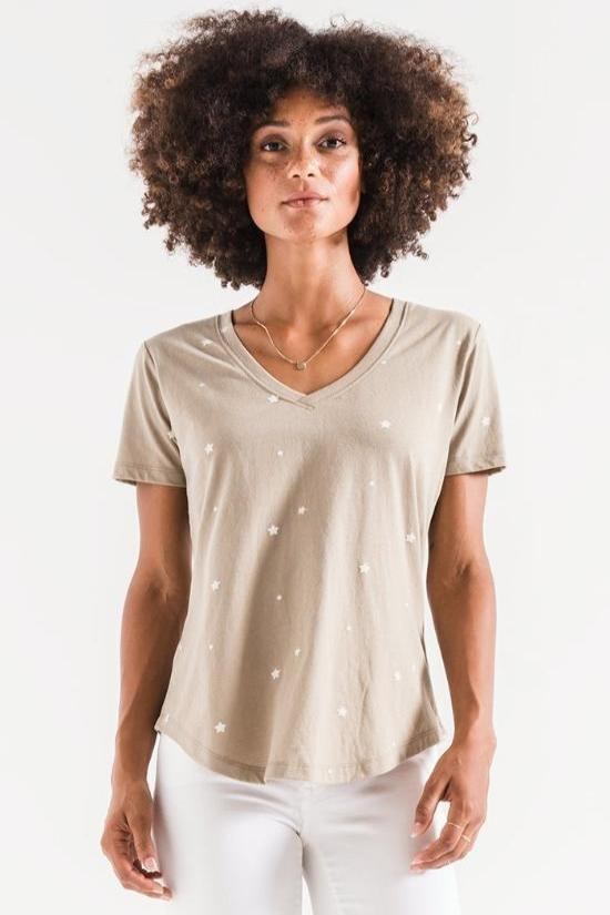 Leah Star Print V-neck Tee-Z Supply-Jupe