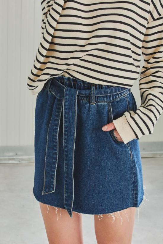 Paper Bag Denim Skirt-24 Colours-Jupe