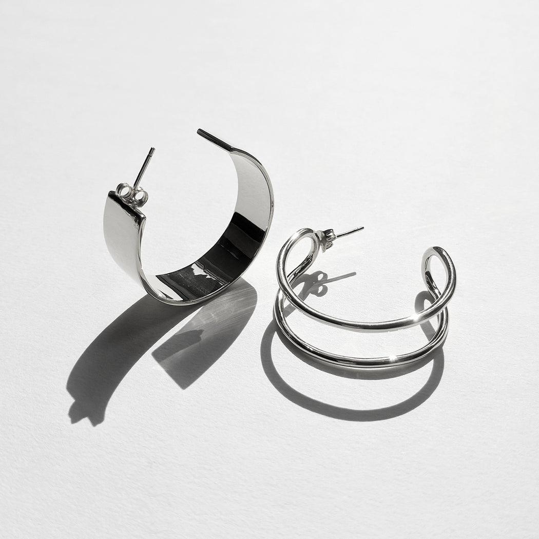 Formation hoop earrings - Silver