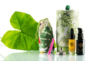Alohi Maui Travel Set Green tropical leaf with cotton aloha print pouch pink mini bottle brush mini funnel Alohi Maui glass 10ml Golden Oil dropper bottle Alohi Water 20ml Miron glass bottle green aloha print round gift box