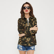 Slim Camouflage Turn-Down Collar Coat