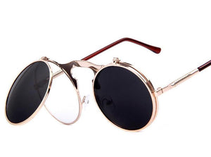 Round Retro Sunglasses With Flip-Up Lenses