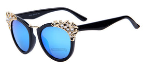Retro Flower Crystal Sunglasses