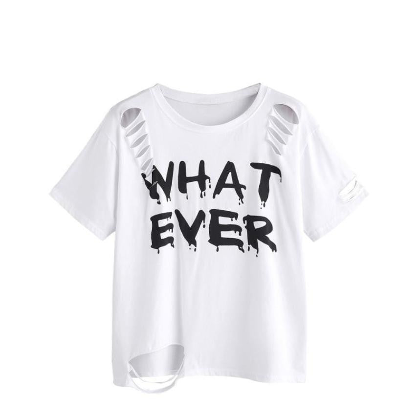 'WHAT EVER' Printed Ripped Femme Short Sleeve T-Shirt