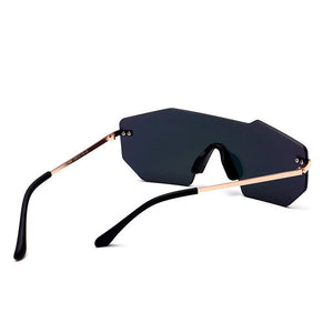 Rimless Mirrored Oversized Sunglasses