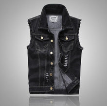 Load image into Gallery viewer, Distressed Denim Sleveless Vest