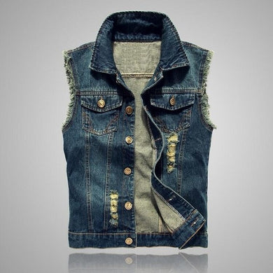 Distressed Denim Sleveless Vest