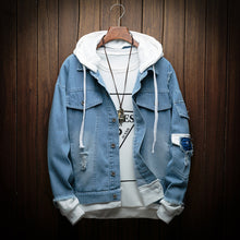 Load image into Gallery viewer, Denim Hooded Bomber Jacket