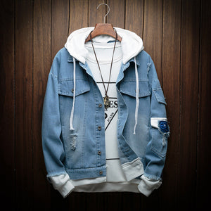 Denim Hooded Bomber Jacket