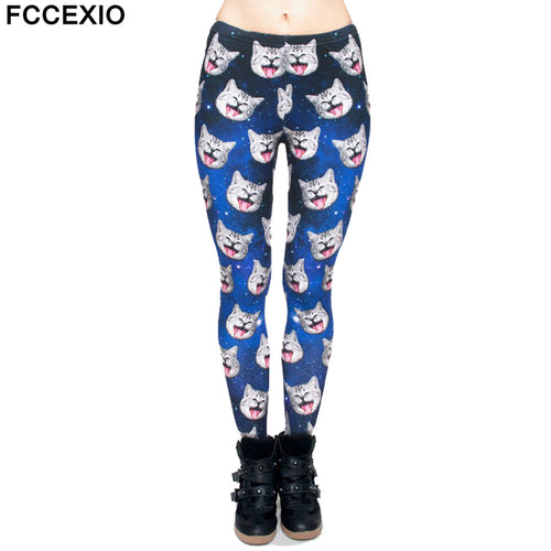 36dbf83a6dd3f9 FCCEXIO 2019 Spring New Fashion Women Leggings Galaxy Gray Cat 3D Print  Leggins Fitness Legging Sexy ...