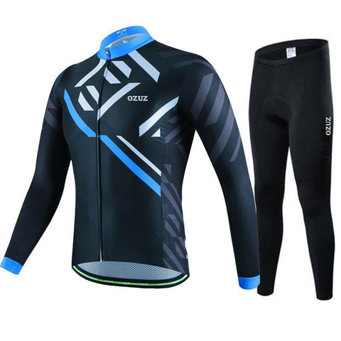 Black And Blue Pro Cycling Long Sleeves Set-Clothing-Bicycle Racing