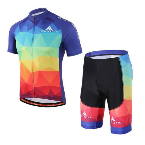 Multicolored Pro Cycling Short Sleeves Set-Clothing-Bicycle Racing