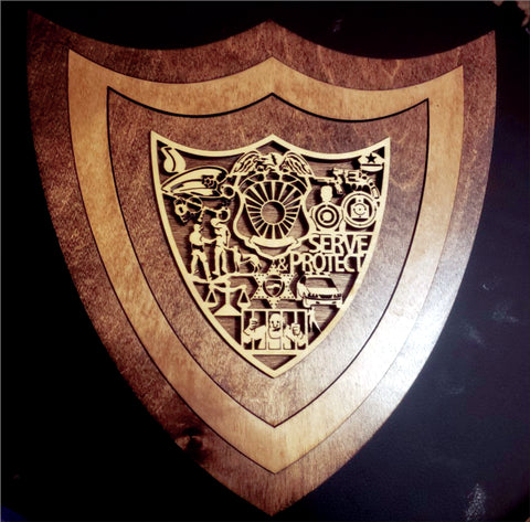 3D Laser Enrgraved Plaque- Law ENFORCEMENT SHIELD