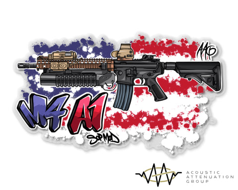 M4A1 SOPMOD Grafitti Clear Backed Sticker