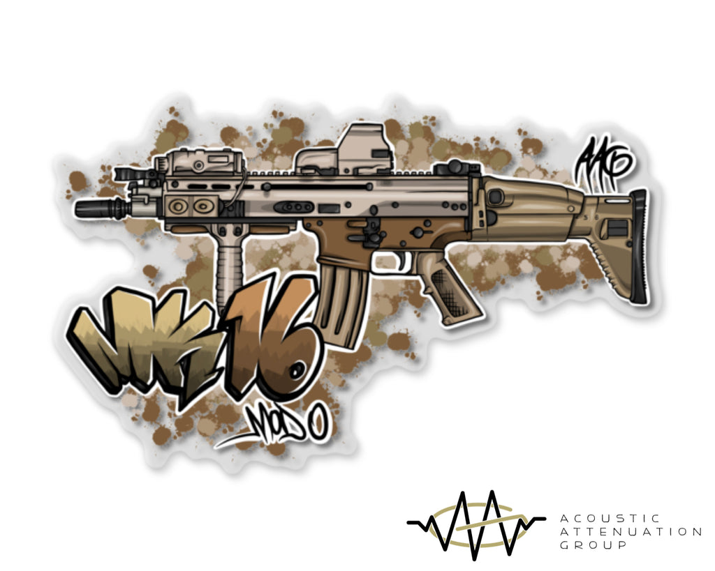 MK16 Mod0 Grafitti Clear Backed Sticker
