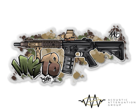 MK18 Block II Grafitti Clear Backed Sticker