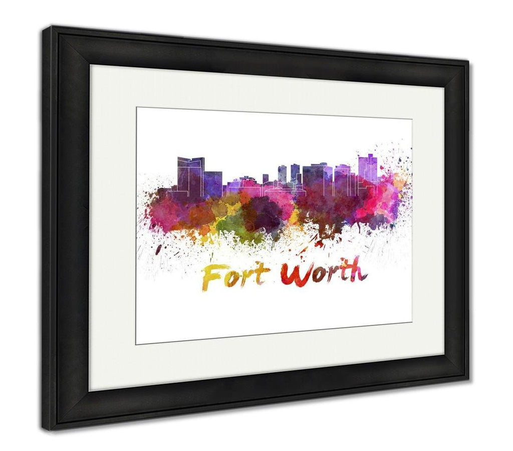 Framed Print, Fort Worth Skyline In Watercolor