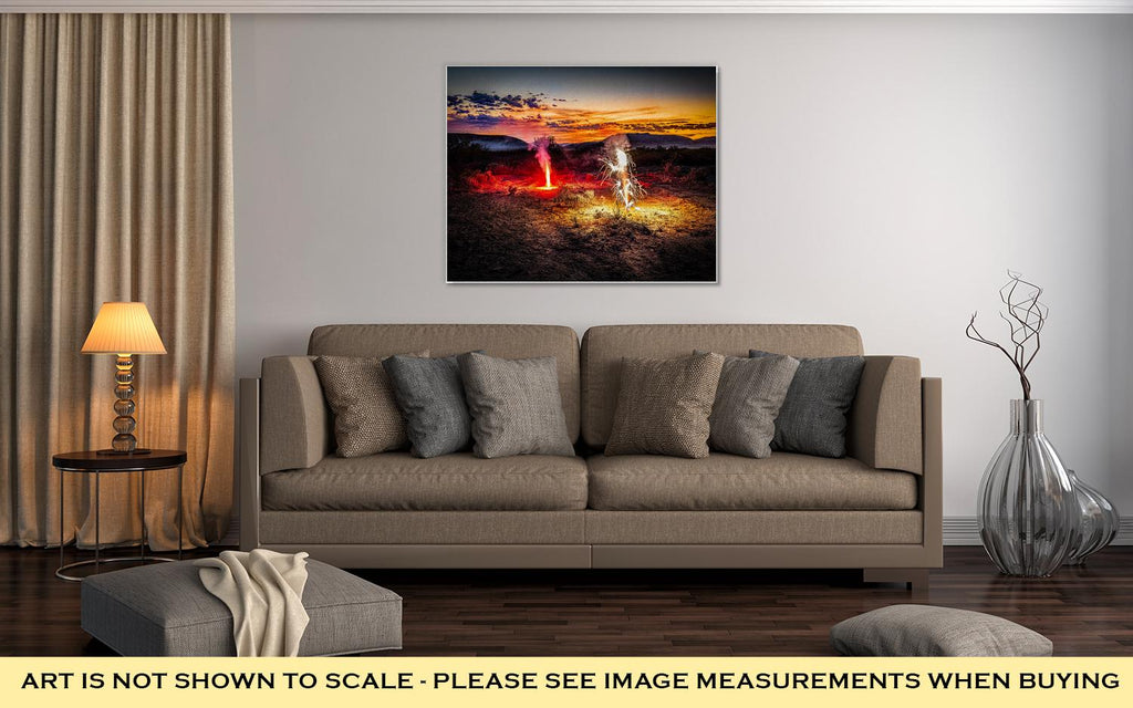 Gallery Wrapped Canvas, A Fireworks Display On The Fourth Of July In The Desert Near El Paso Tx