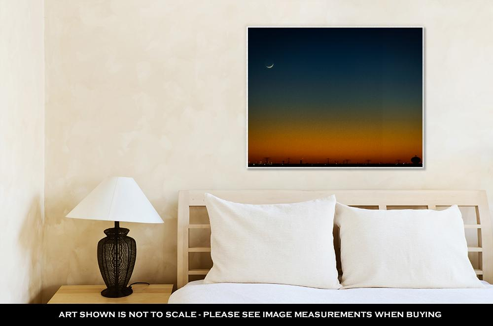 Gallery Wrapped Canvas, North Houston Texas Sunset And Moonrise With Power Line Silhouette