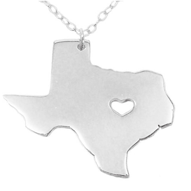 Texas Heart Necklace - Silver