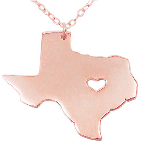Texas Heart Necklace - Rose Gold