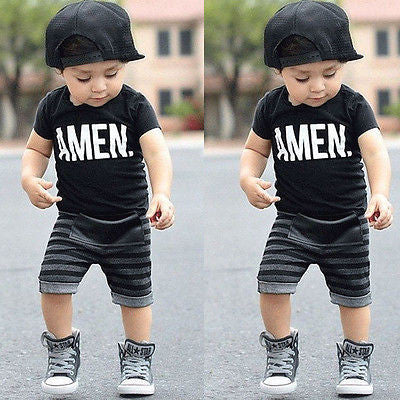 """Amen."" Toddler Striped Pants Outfit"