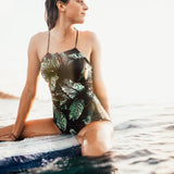 """Rocky"" One Piece Swimsuit w/ Leaf Design"
