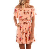 Women's Red Floral Summer Dress