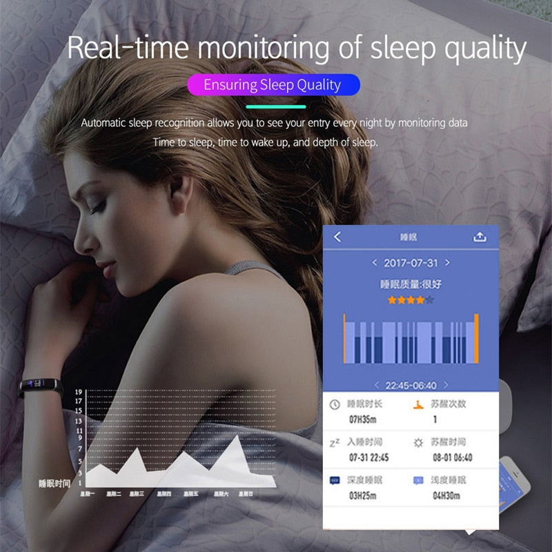 Smart Bracelet M4 Heart Rate Monitor Nrf52832 Fitness Tracker Watch Color Screen Call Reminder Smart Wristband for IOS - Tebo Tech