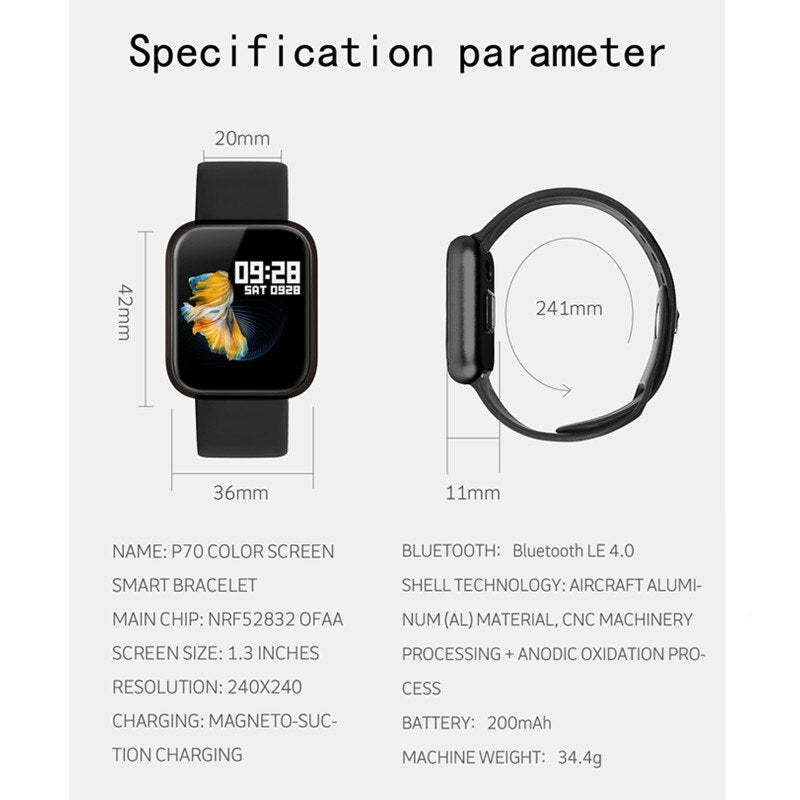 P70 smart wristband +earphone+belt /set smart band women with heart rate blood pressure waterproof watch for ios android - Tebo Tech