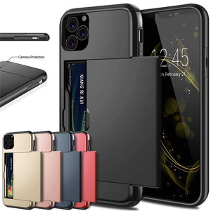 For iPhone 11 Pro Max XS X XR Case Slide Armor Wallet Card Slots Holder Cover For IPhone 7 8 6 6s Plus 5 5s TPU Shockproof Shell - Tebo Tech