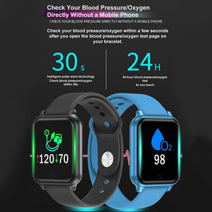 Bluetooth Smart Wristband IP67 Waterproof Blood Pressure Oxygen Monitor Smart Bracelet With Fitness Tracker Sport Wristband - Tebo Tech
