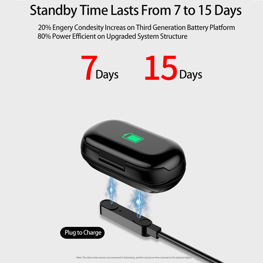 TWS  Bluetooth 5.0 Earphone Wireless Headphones  M1 Newest AI Smart Watch With Bluetooth Earphone Heart Rate Monitor Smart Wristband - Tebo Tech