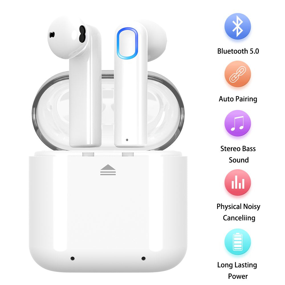 Wireless EarbudsBluetooth 5.0 Wireless Earbuds Bluetooth Headphones with Deep Bass HiFi 3D Stereo Sound Built-in Mic Earphones with Portable Charging Case for Smartphones and Laptops (White)