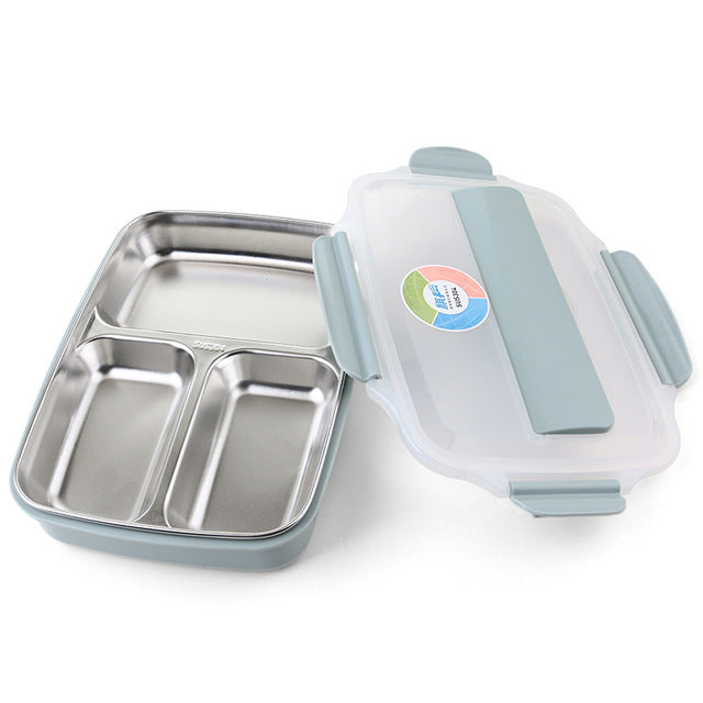 Stainless Steel Lunch Box with Bag - 3 or 4 Compartment