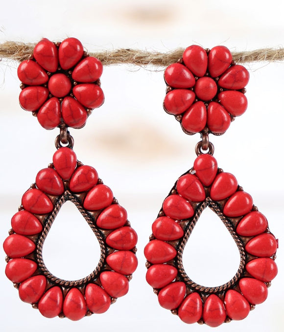 Red Tear Drop Flower Stud Earrings