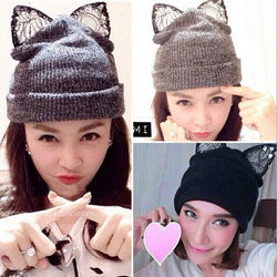 Lace Cat Ear Beanie