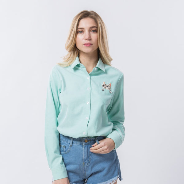 green button up cat blouse on model