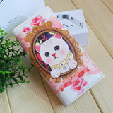 white and pink cat wallet