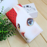 red and white cat wallet big cat eye