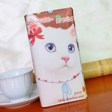 white cat wallet bow in ear